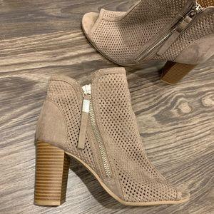 Tan Booties with wooden heel